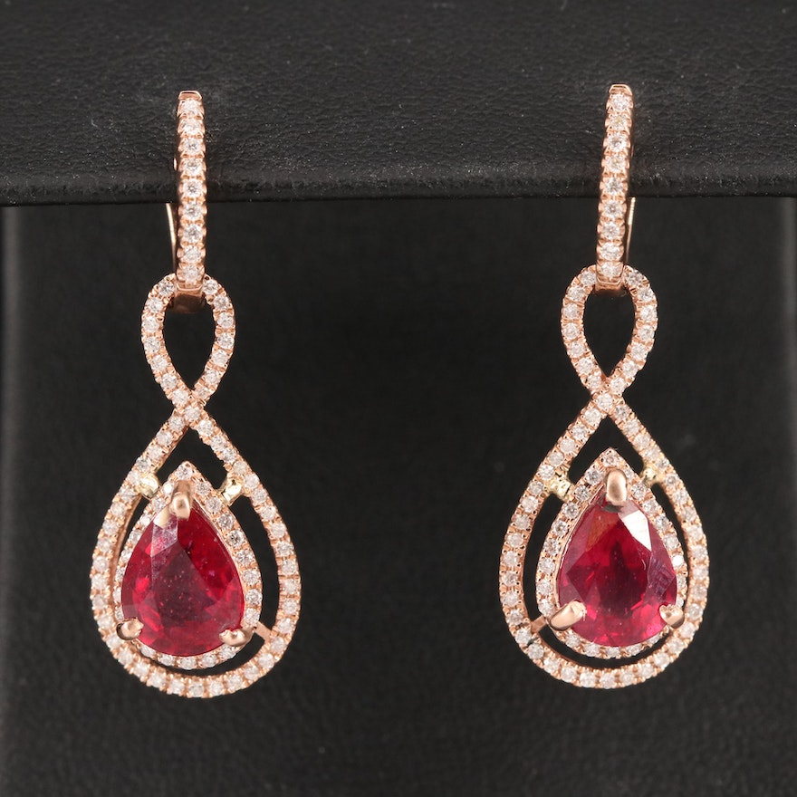 14K Corundum and Diamond Drop Earrings