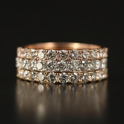 14K Tri-Tone 1.65 CTW Diamond Stackable Rings