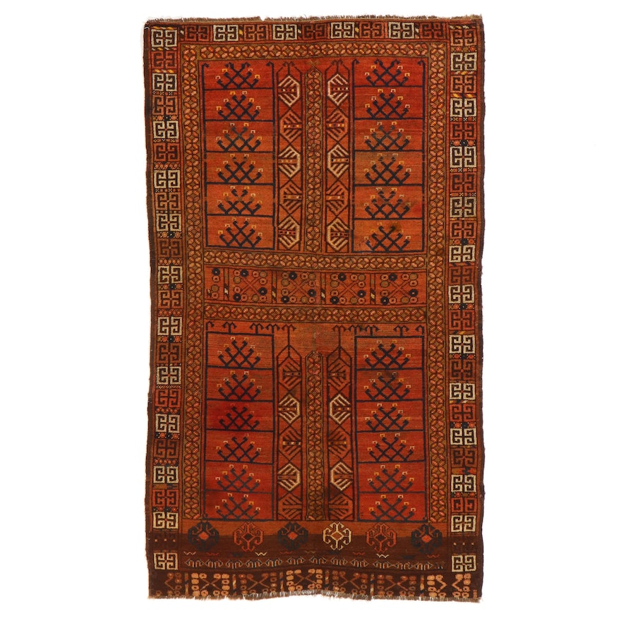 4'1 x 6'11 Hand-Knotted Afghan Parda Area Rug