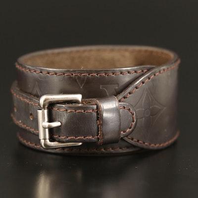 Louis Vuitton Force Monogram Leather Wrap Bracelet