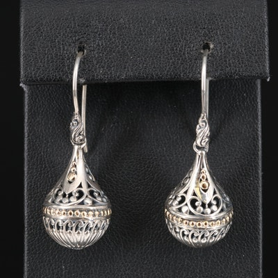 Robert Manse Designs Sterling Scrollwork Orb Drop Earrings with 18K Accents