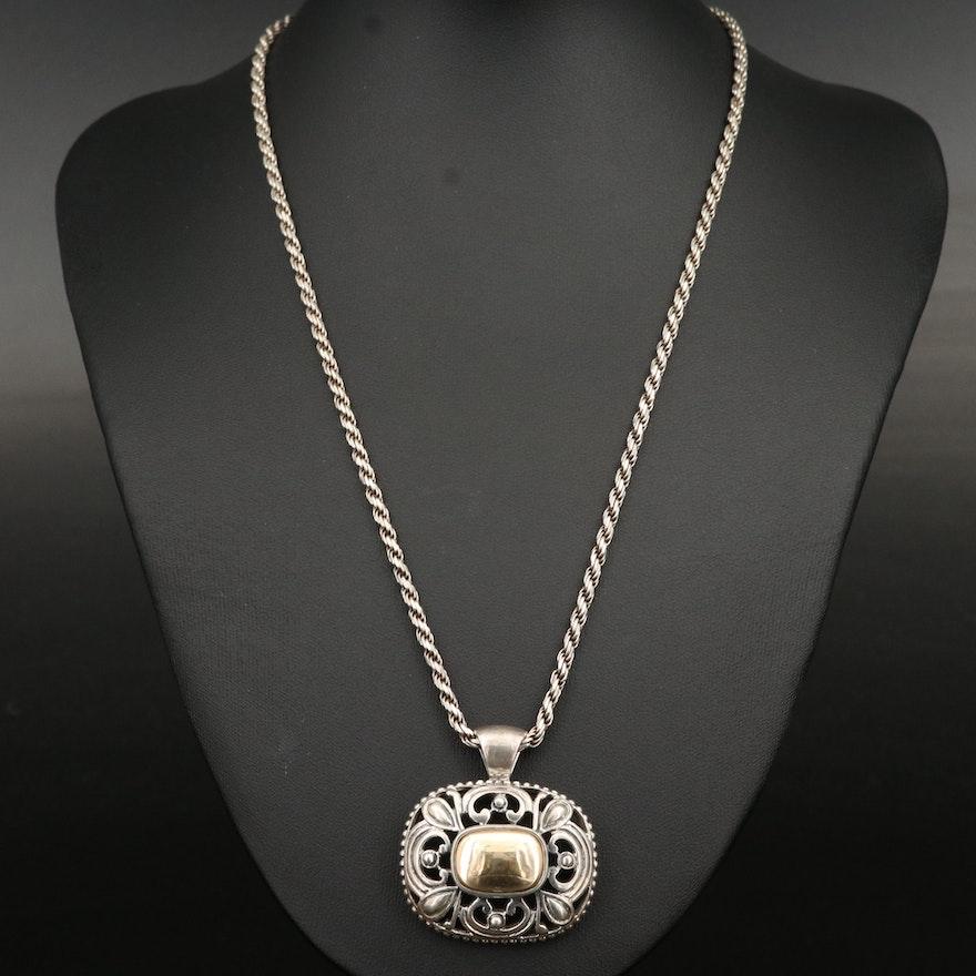 Joseph Esposito Sterling Silver Pendant Necklace with 14K Accent