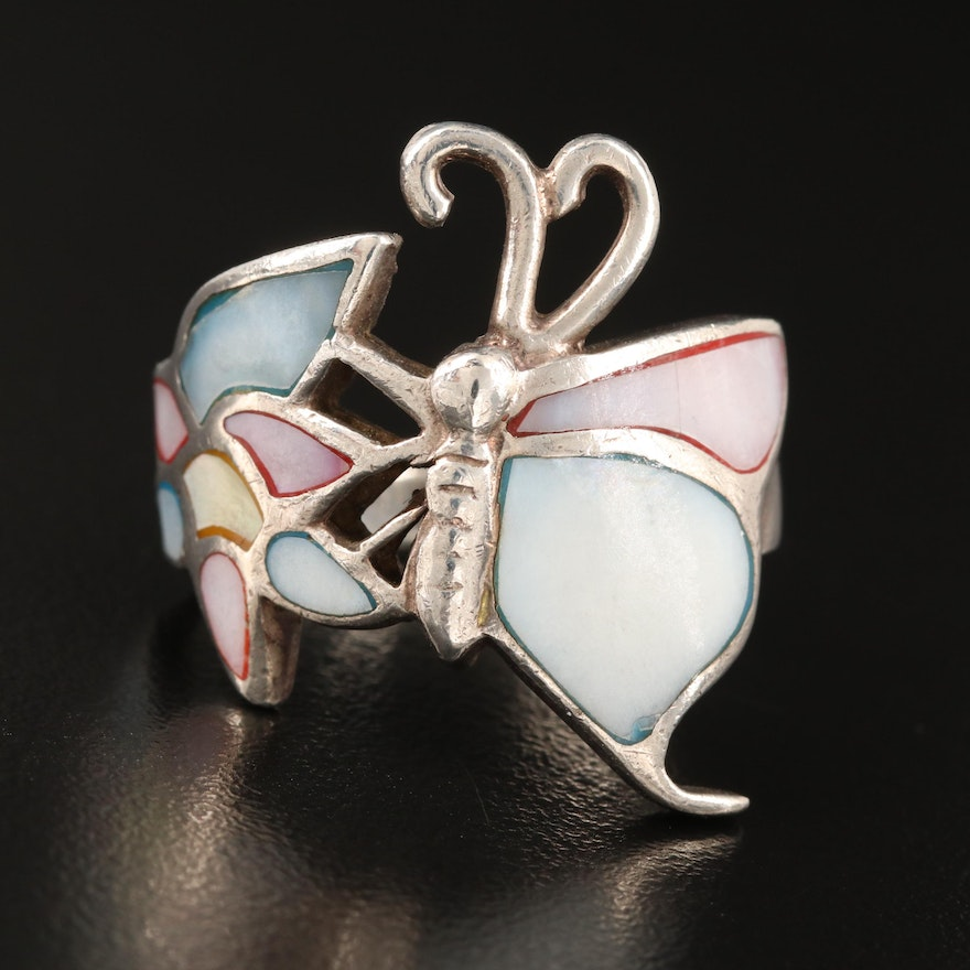 Sterling Mother of Pearl Inlay Butterfly Ring