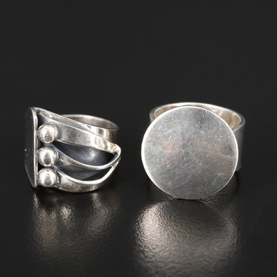 Sterling Silver Asymmetrical and Mexican Disk Rings