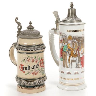 German Merkelbach Stoneware and Other Ceramic Beer Steins, 20th Century