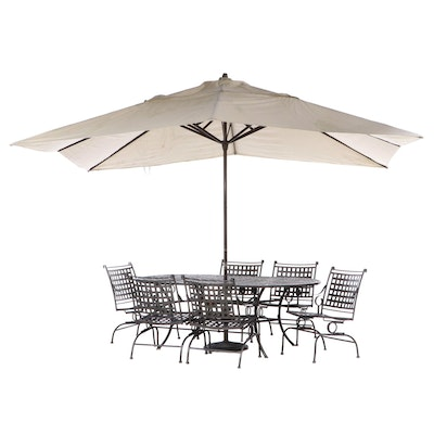 Contemporary Open Weave Metal Patio Table, Chairs and Umbrella
