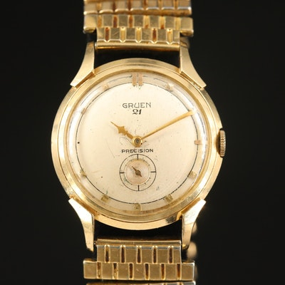 Gruen 21 Precision 14K Yellow Gold Wristwatch, Circa 1952