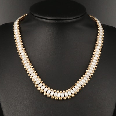 14K Semi-Baroque Pearl Graduated Necklace