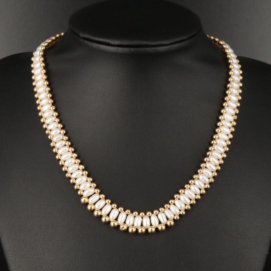 14K Semi-Baroque Pearl Graduated Necklace