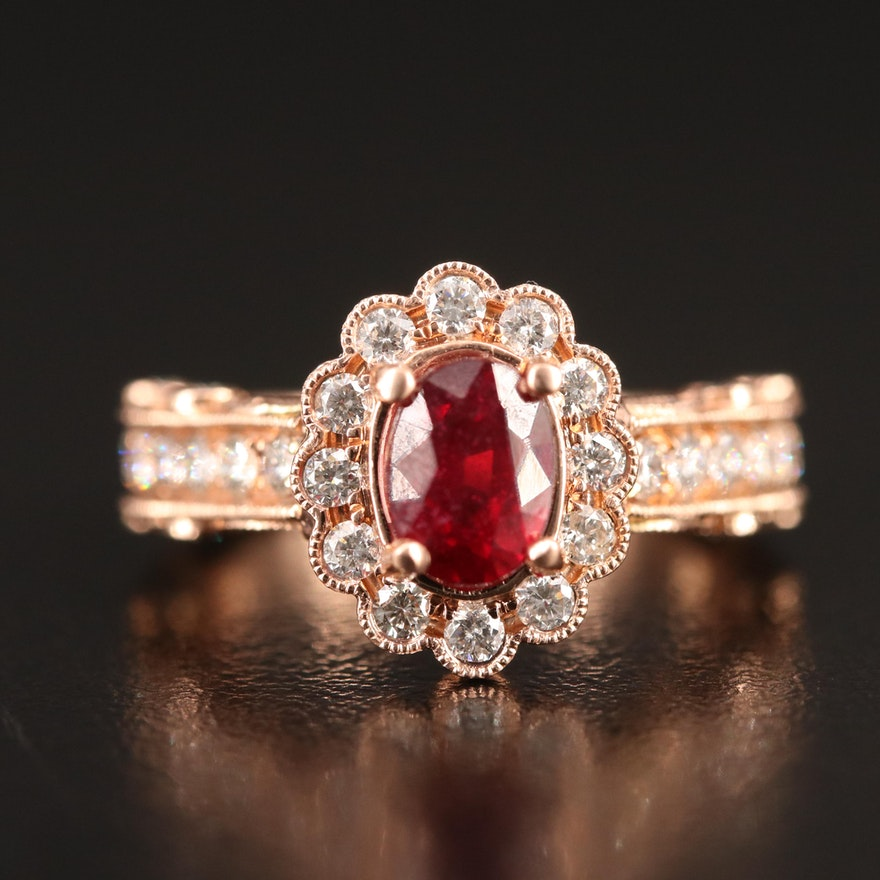 14K Rose Gold Corundum and 1.22 CTW Diamond Ring with Milgrain Details