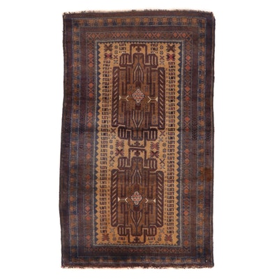 2'10 x 4'8 Hand-Knotted Afghan Baluch Accent Rug