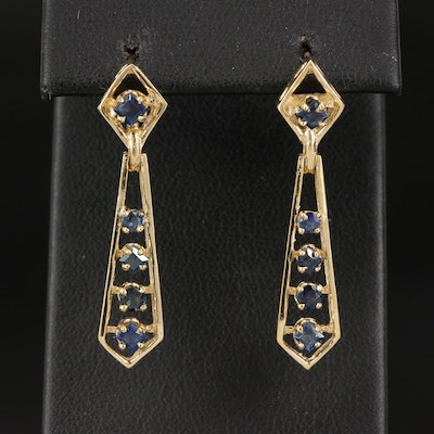 14K Sapphire Geometric Dangle Earrings