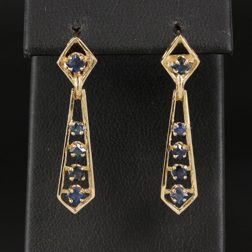 14K Sapphire Geometric Dangle Earrings