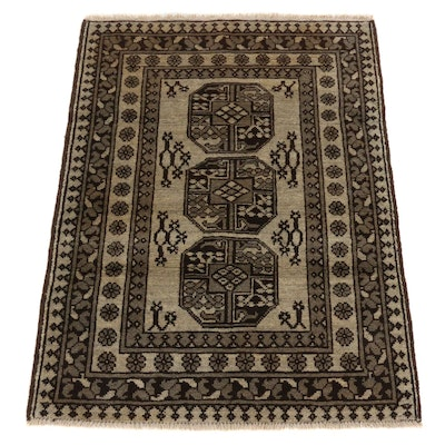 2'9 x 3'11 Hand-Knotted Afghan Turkmen Elephant Feet Wool Accent Rug