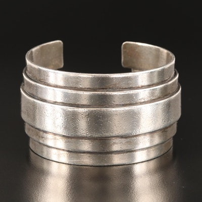 Modernist Sterling Layered Cuff