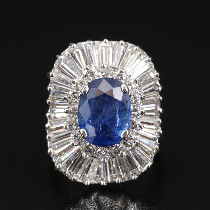 14K 3.67 CT Sapphire and 3.86 CTW Diamond Ballerina Ring