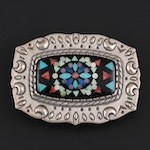 Relios Sterling Belt Buckle with Spiny Oyster, Lapis Lazuli and Mother-of-Pearl