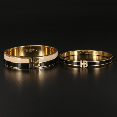 Henri Bendel Hinged Bangles with Enamel and Cubic Zirconia Accents