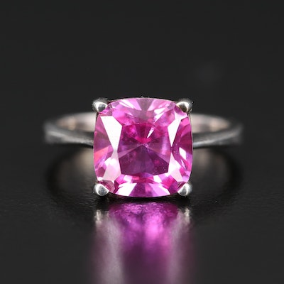 Sterling Sapphire Solitaire Ring