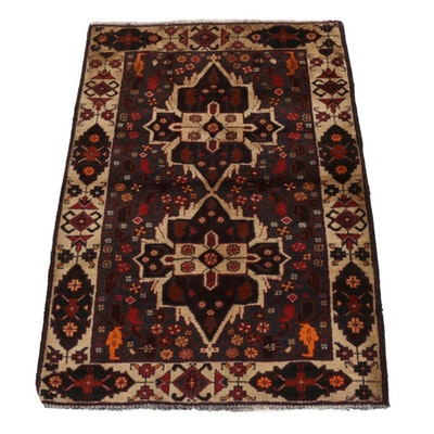 2'8 x 4' Hand-Knotted Afghan Baluch Tribal Accent Rug