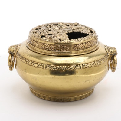 Chinese Ming Style Gilt Bronze Censer with Dragon Motif