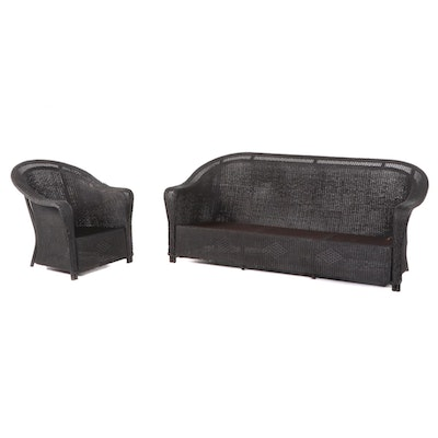 Woven Wicker Outdoor Sofa and Armchair