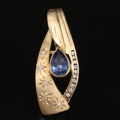 14K Sapphire and Diamond Enhancer Pendant