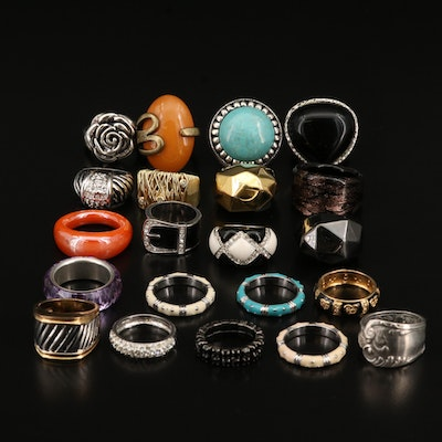 Rhinestone and Gemstone Rings Featuring Sterling Spoon Ring