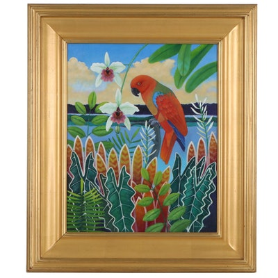 Dan Cocco Tropical Landscape Acrylic Painting with Parrot, 21st Century
