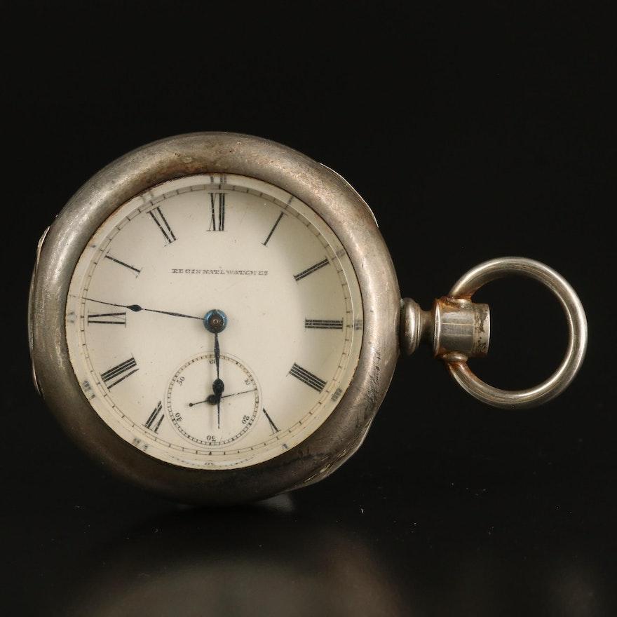 1884 Elgin Coin Silver Pocket Watch