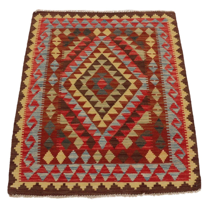3'4 x 4'4 Handwoven Afghan Turkish Kilim Accent Rug