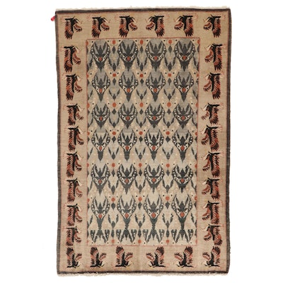 4'3 x 6'6 Hand-Knotted Pictorial Birds Wool Area Rug