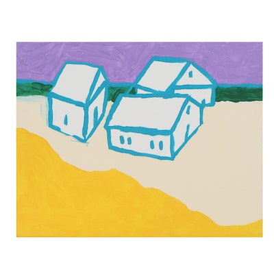 Preston Wilbur Landscape Acrylic Painting with Houses, 2020