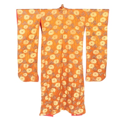Paulownia and Chrysanthemum Orange Metallic Patterned Furisode Kimono