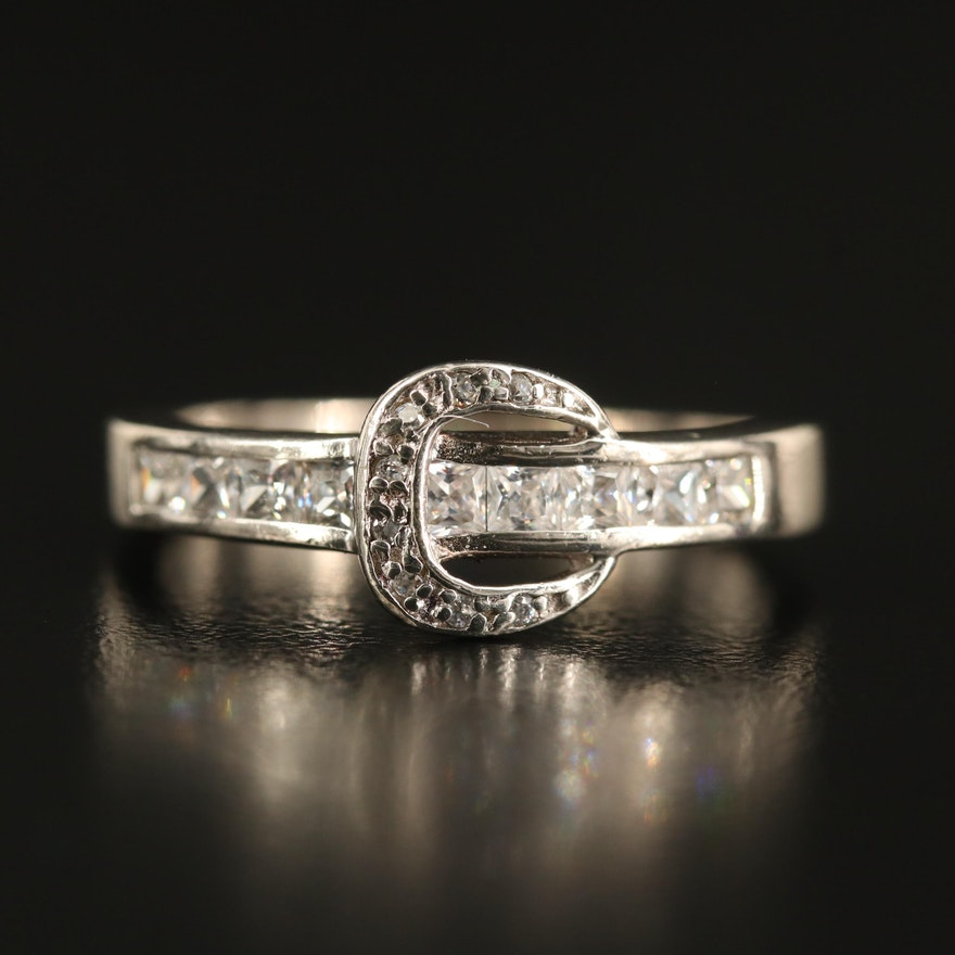 Sterling Cubic Zirconia Buckle Ring