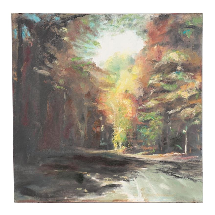"""Leigh Rodenbough Oil Painting """"Battleground Park,"""" 21st Century"""