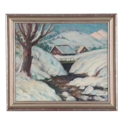 """Americo Panozzi Winter Landscape Oil Painting """"El Puentecito,"""" Mid-20th Century"""