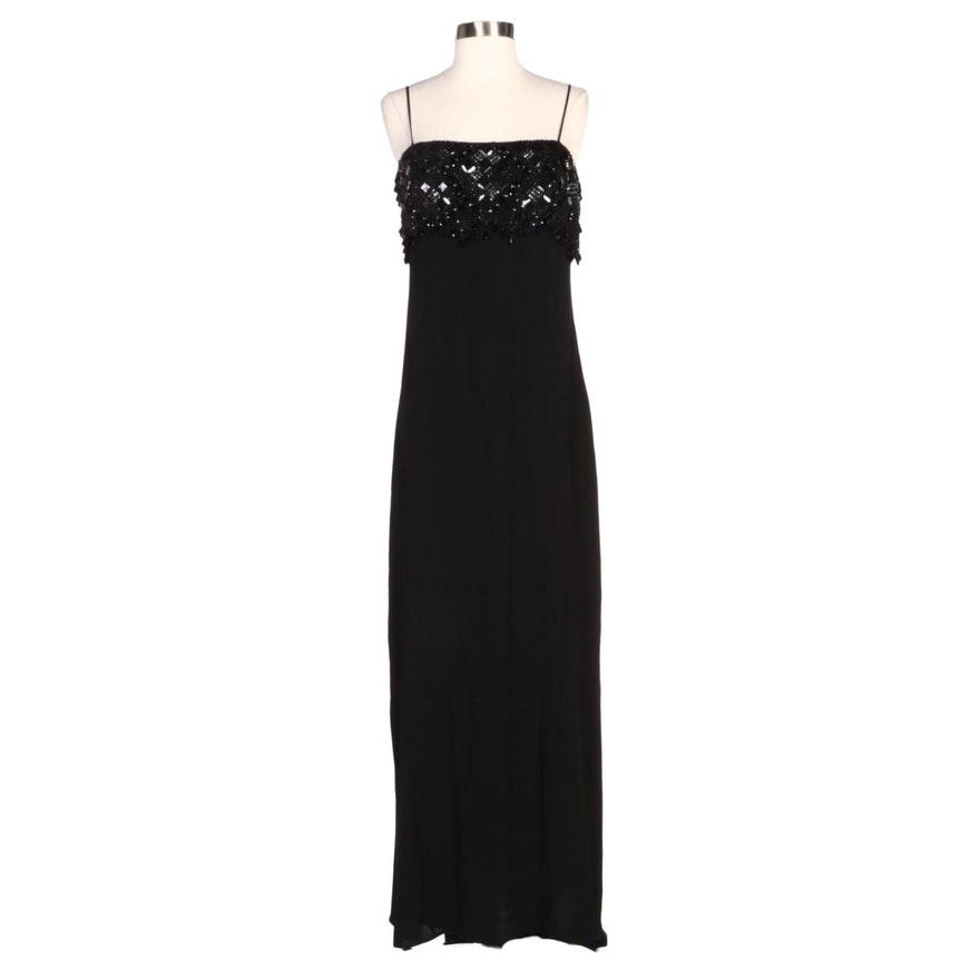 Valentino Black Sleeveless Evening Dress with Embellished Drape Bodice