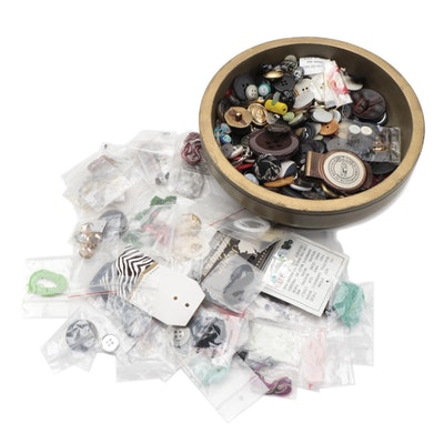 Assorted Buttons and Sewing Notions with Wooden Jar