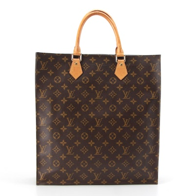 Louis Vuitton Sac Plat Tote Bag in Monogram Canvas and Vachetta Leather