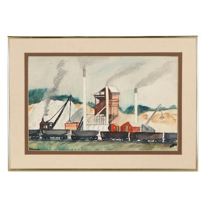 Lois Rapp Industrial Site Watercolor Painting, Mid-20th Century