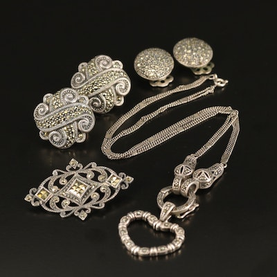 Sterling Marcasite Jewelry Featuring Judith Jack Dome Earrings
