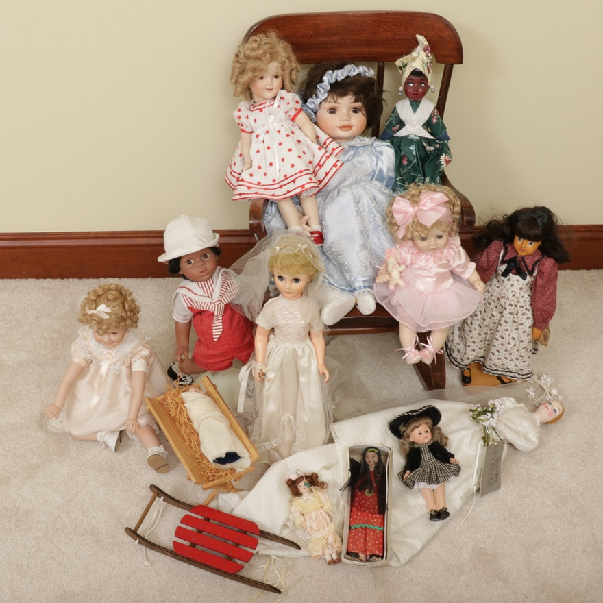 Shirley Temple and Other Porcelain and Plastic Handcrafted Dolls
