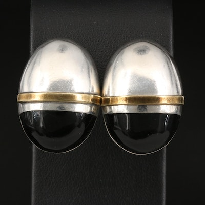 Modernist Style Mexican Sterling Silver Clip Earrings with Resin Accents