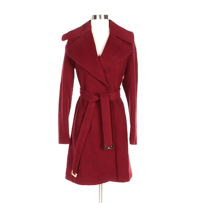 Diane von Furstenberg Red Nikki Coat with Tie Belt