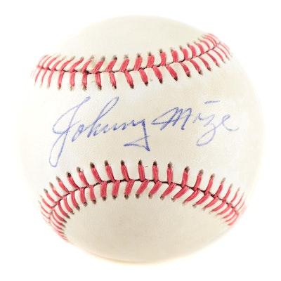 Johnny Mize Signed Rawlings National League Baseball, Visual COA