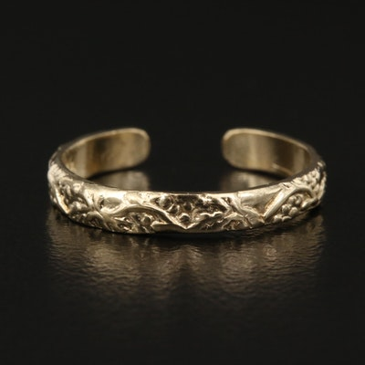 14K Textured Toe Ring