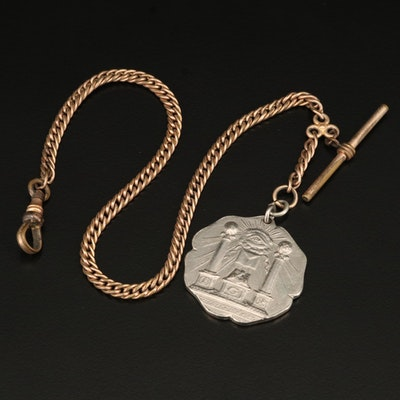 Vintage Watch Chain with Masonic Pillars and Eye of Providence Fob