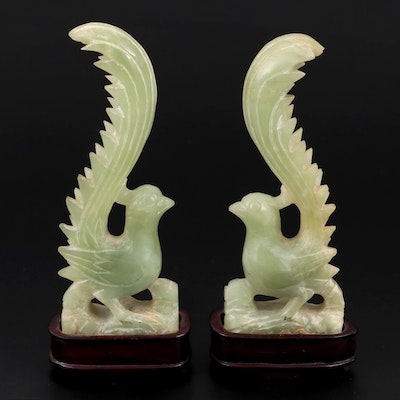 Chinese Carved Serpentine Phoenix Figurines