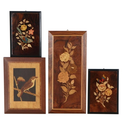 Bird and Floral Still Life Wood Inlay Plaques, circa 2000